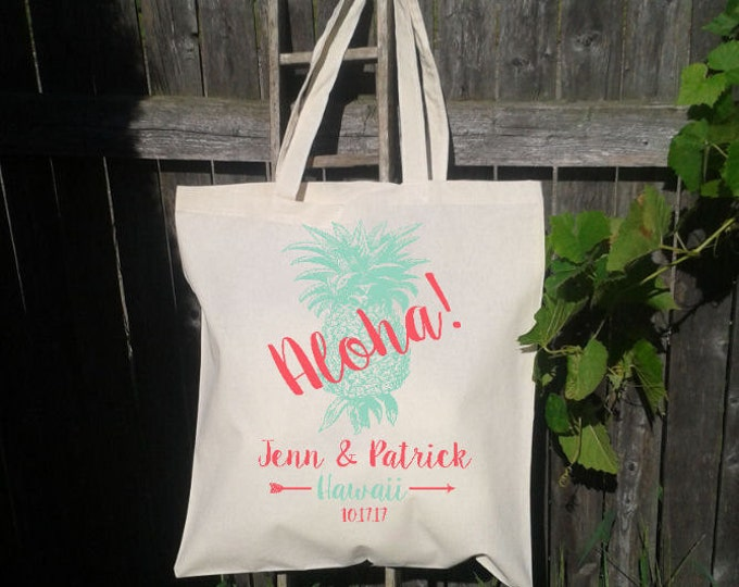 Aloha Wedding Tote Bag, Destination Wedding, Welcome Bags, Customized for FREE
