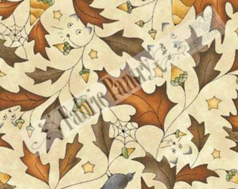 Red Rooster Quilt Fabric ~ On The Web ~ 4631-25991 by Jacqueline Paton ~ Fall, Leaves, Acorns, Autumn