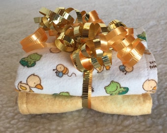 Little Friends - Set of 2 Reversible Burp Cloths - Ready to Ship by PiquantDesigns