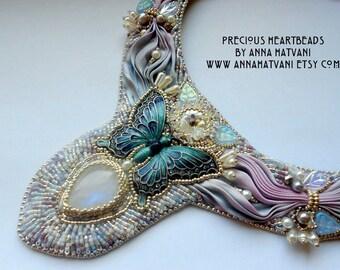 Shibori Bead Embroidery statement necklace  pink silver light blue  - Bead Embroidered shibori silk ribbon