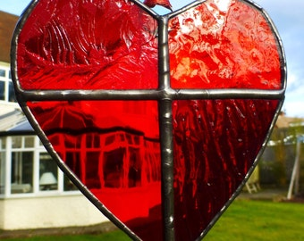 Red Valentine Stained Glass Love Hanging Heart Sun Catcher Light Catcher