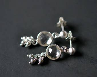 clear quartz trill stud earrings