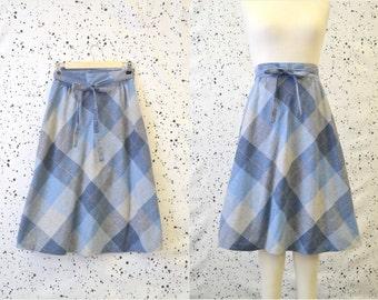 1970s Ego Plaid Wrap Skirt