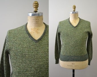 1960s DeLoache Heathmoore Green Marled Sweater