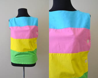 1960s Bright Bands Cotton Shirt