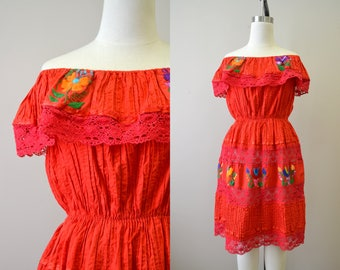 1970s Red Mexican Embroidered Dress