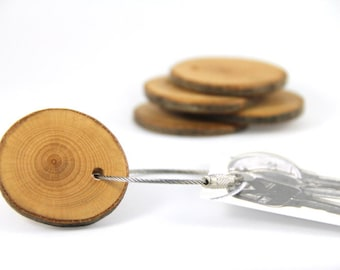 beech wood keychain - with screw on steel cable