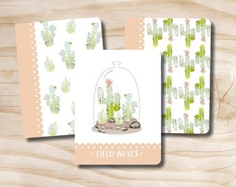 Set of 3 field notebooks Mini B Noetbooks Notepads Floral Cactus' Terrarium
