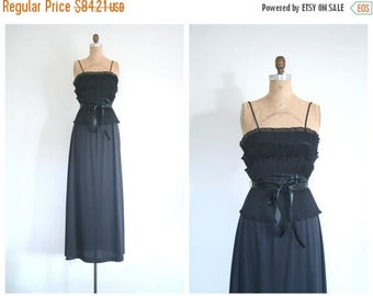 25% SPRING SALE 1970s black maxi party dress - organdy tiered ruffles / 70s glamour - Studio 54 dress / vintage bridesmaid dress - 70s maxi
