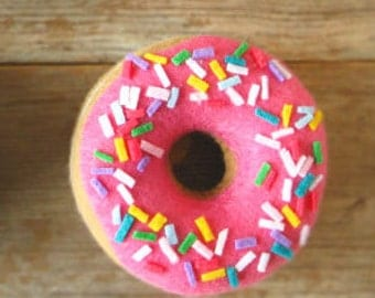 Felt Food Donut with Pink Icing and Sprinkles