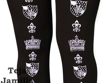 Crown Tights Silver Black Medium Tall Street Style Otome Victorian