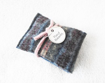 Pocket Hand Warmers BLUE & PINK Reusable Felted Sweater Wool Handwarmers Rice Bags Ecofriendly Gift Under 10 Stocking Stuffer by WormeWoole