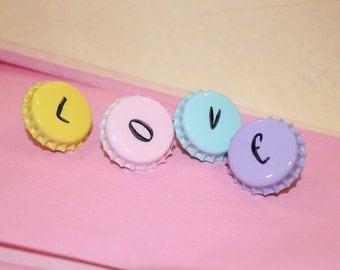 LOVE Push Pins, Mixed Media Push Pins, Purple Push Pin, Retro Push Pin, Office Decor, Dorm Room Decor, Yellow Push Pins, Bottlecaps