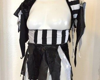 Upcycled wrap fringe skirt dance Burning Man Festival Fairy white black cirque coverup Faerie Tutu Pixie Renaissance Costume convertible