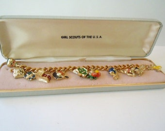 Vintage Girl Scout Charm Bracelet Original Case Girl Scout Collectible