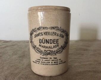 Vintage James Keiller & Son Ltd DUNDEE Marmalade jar / Pottery Jar. Fabulous Patina.