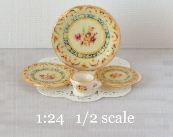 1:24 Heirloom Roses Decals for Miniature Dishes