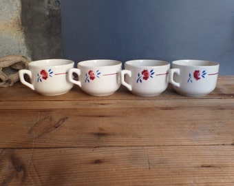 Vintage French cups in ceramics red/blue patterns  Luneville