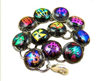 Dichroic Glass Hologram Bracelet - Layers of Multicolored Color Changing Fused Glass
