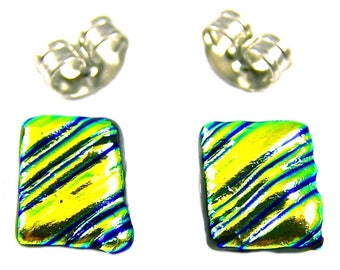 """Tiny Dichroic Post Earrings - 1/4"""" 8mm - Golden Yellow Green Wavy Ripple Fused Glass"""