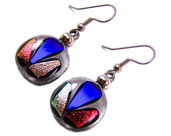 """Dichroic Dangle Earrings - Clear Orange Pink Purple Mosaic Dichro Triangle Chips Fused Glass - 3/4"""" 20mm - Surgical Steel French Wire"""