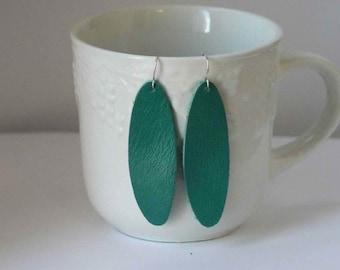 Teal Green Blue Oval Drop Leather Earrings