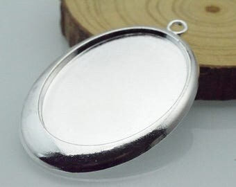 5pcs 30x40mm Silver Plated Oval Cameo Cabochon Base Setting c8462