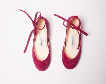 The Nubuck Leather Ballet Flats with Ankle Ribbons | The Perfect Summer Flat Shoes in Cherry Red | Made to Order