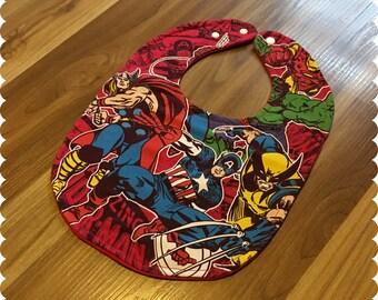 Superhero Recycled T-Shirt Baby Bib, Baby Shower Baby Boy Gift, Thor, Captain America, Wolverine, Hulk