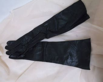 Vintage Kislav Kid Black Elbow Gloves, Washable, Small