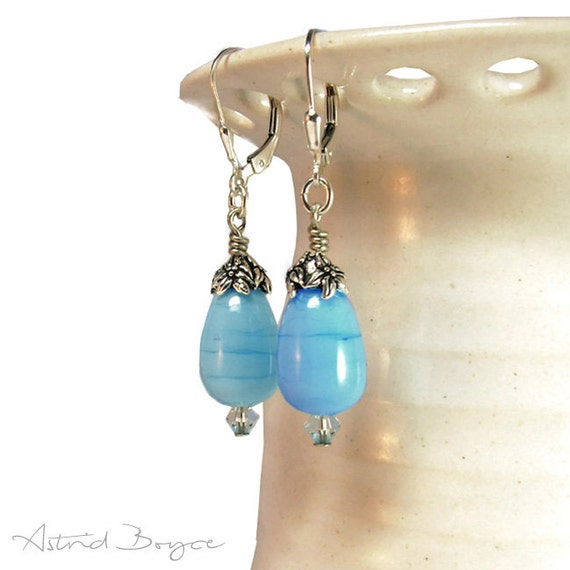 Baby Blue artisan lampwork drop earrings  - Free USA Shipping - Pantone Island Paradise - Pantone Color 2017 - dangle earrings blue earrings