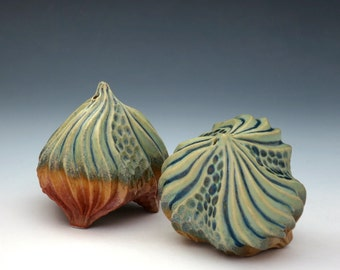 Carved porcelain urchin salt & pepper shaker set in green, blue and orange