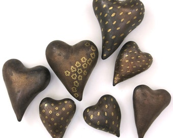Mini heart, porcelain in bronze glaze with gold, metallic