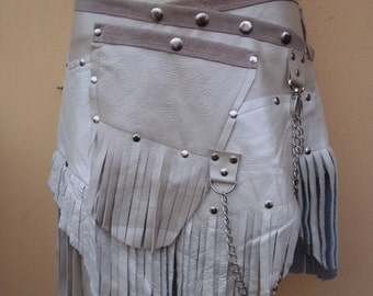 """20%OFF fringed leather belt with stud detail.chain and large pocket ...26"""" to 34"""" waist or hips.."""