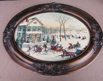Vintage Antique Romantic Victorian Carved Scroll Wood Work Framed Colonial Scene Picture