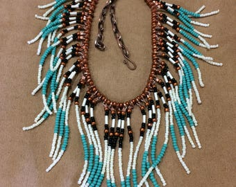 Reserved for Anna. Native American style turquoise and tan seed beaded necklace