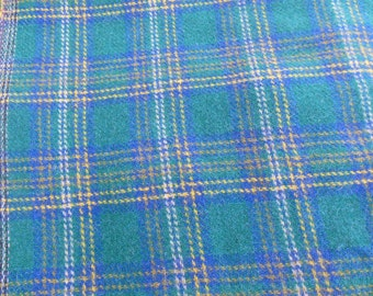 Large Wool Fabric Piece, Tartan Plaid Fabric