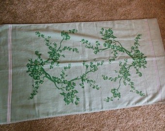 Vintage Green on Green Bath Towel By Tastemaker Stevens Floral Design, 100% Cotton