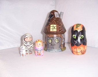 Hand painted Halloween Haunted House stacking nesting doll set