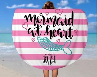Personalized Mermaid Round Beach Towel - Custom Roundie Beach Towel  - Soft Velour Monogram Beach Towel, Custom Camp Towel