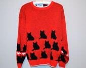 Vintage Sweater Black Cat on Red