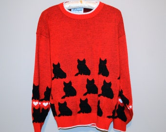 Vintage Sweater Black Cat on Red
