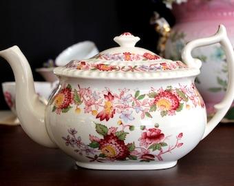 DAMAGED Spode Aster Teapot, Vintage Tea Pot  England 13798