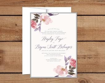 Wedding Invitation, Gray, Plum, Floral, Autumn Florals, Custom