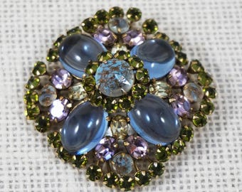 Schreiner New York Pastel Blue Pink Lavender Green Rhinestone and Confetti Art Glass Rhinestone Brooch Pendant