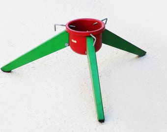 1960s-70s Atomic Christmas Tree stand / Rocket / red and green / metal / folding / made in Hong Kong