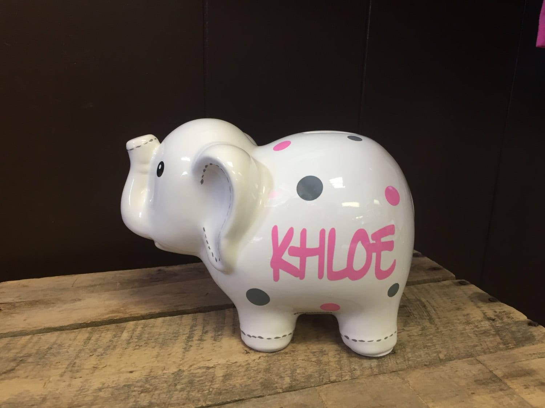 White large ceramic elephant piggy bank personalized piggy - Ceramic elephant piggy bank ...