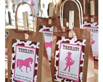 SALE Cowgirl Party Favor Bag Tag DIGITAL FILE 4x6 Jpeg Digital File Personalized