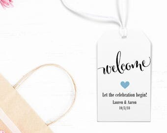 """Welcome Tag, Wedding Favors, Party Favors, Personalized Tags for Gift Bags, Wedding Weekend - Size 2"""" x 3.5"""" Set of 25, CAN"""