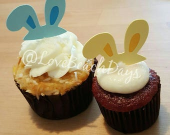 Bunny Ear Cupcake Toppers: Easter Rabbit Cupcake Toppers, Food Decorations